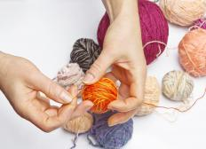 "Yarn can be ""painted"" with dye using a brush or foam sponge."