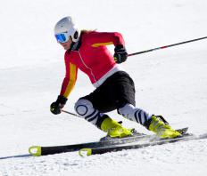 A skier wearing long athletic underwear.