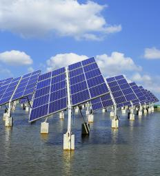 Solar panels have amorphous silicon cells connected to electrical circuits.