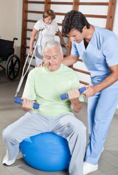 A rehabilitation specialist helps patients recover after an injury.