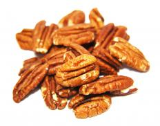 Pecans are carmelized and candied for pecan tassies.