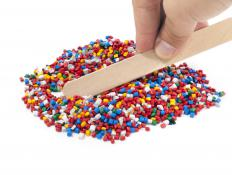 During the manufacturing process plastic pellets are melted and molded.