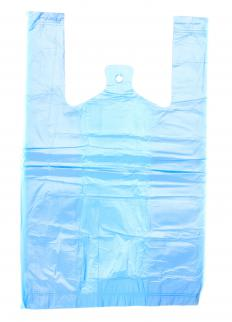 A plastic bag made with polyethylene.