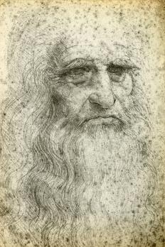 A portrait of Leonardo Da Vinci, who designed an ornithopter.