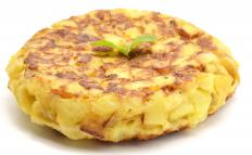 Called a tortilla de patatas, the Spanish omelette is an egg and potato omelette.