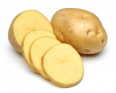 Potatoes are starchy tubers used in many dishes.