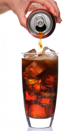 A glass of diet soda, which is allowed on the junk food diet.
