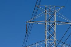 Bulk power moves through high-voltage transmission lines.