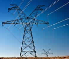 Power transmission towers keep power lines off the ground.