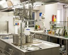 Restaurants use metal cabinets because they are durable and easy to clean.