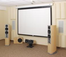 Projector carts can be used in home theaters.