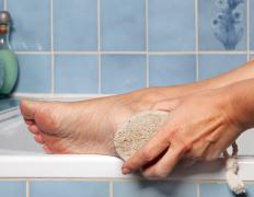 A pumice stone can be used during a home pedicure.