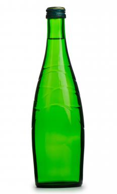 A bottle made of recycled glass.