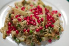 Quinoa pomegranate fennel salad, a vegetarian dish.