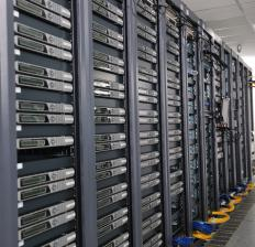 Racks of servers in a hosting service.