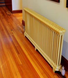 A hot water radiator.