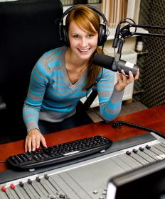 A radio producer manages on-air broadcasts.
