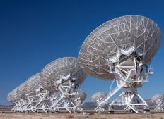 Radio telescopes detect radio waves, a form of electromagnetic radiation, from space.