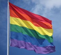 The rainbow flag, used as a symbol of gay pride.