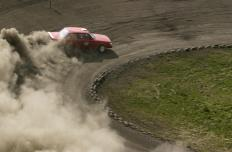 Rally wheels are used by cars raced on dirt tracks.