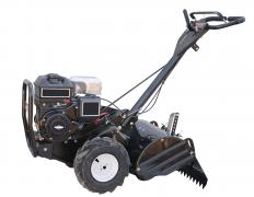 When installing plastic lawn edging, a motorized garden tiller may be used when making the installation trench.