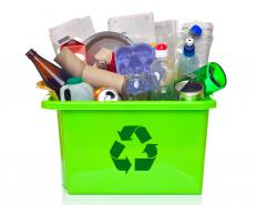 Glass, paper and plastics are among the most commonly recycled materials used to create building products.