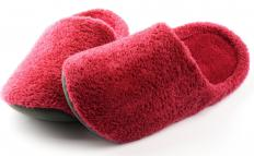 Slippers may be worn to provide warmth and comfort to the feet.