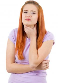 Adenopathic swelling may occur in the lymph nodes under the chin.