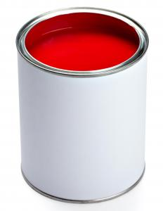 A can of red exterior paint.