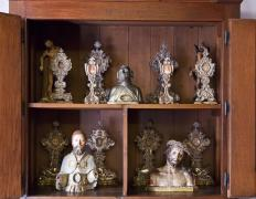 Relics are typically stored in reliquaries.