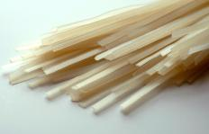Rice noodles may be shaped like spaghetti.
