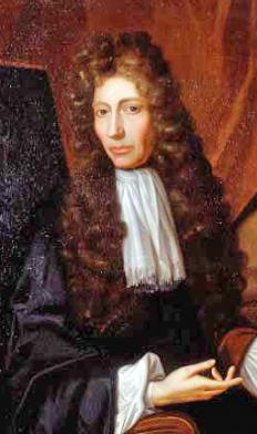An oil painting of Robert Boyle, for whom Boyle\'s Law was named after.