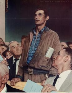 The paintings of Norman Rockwell, such as those created for The Four Freedoms series, illustrated American values and culture.