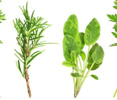 Sprigs of rosemary and sage.