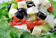 Greek salad with cucumbers, feta, and tomatoes.