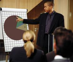 A sales coordinator with a pie chart discussing figures with colleagues.