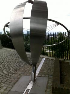 Sculpture on the Prime Meridian, near the Greenwich Observatory.
