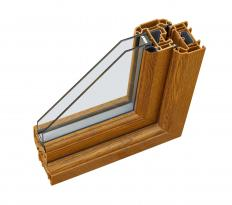 A layer of air is often trapped between two panes of double-glazed glass.