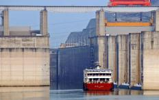 A ship going through a lock at the Three Gorges Dam on the Yangtze River, one of the longest in the world.