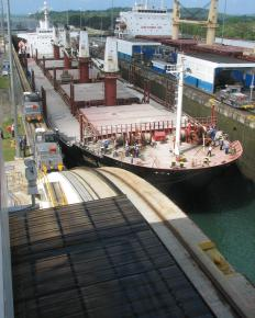 The Panama Canal is comprised of a serious of connected locks.