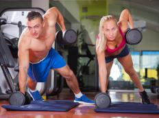 Dumbbell rows work the muscles of the arms and the back.