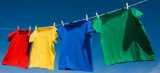 Shirts on a clothesline.