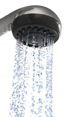 A shower head running.