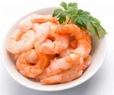 Shrimp is an ingredient found in callaloo stew.