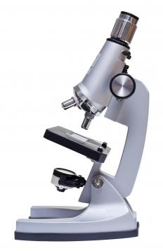 A microscope condenser focuses the light that passes through the stage of the microscope where the specimen is mounted.