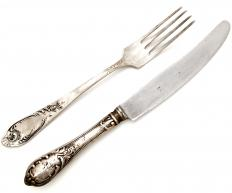 Silver plated flatware.