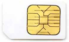 A SIM card, which contains an integrated circuit.