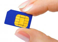 A SIM card for a GSM TV phone.