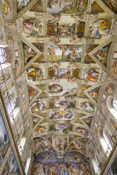 The ceiling of the Sistine Chapel, which is located in Vatican City, is covered in frescoes that were painted by Michelangelo.
