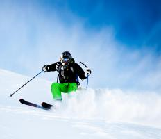 A skier may choose to wear a waterproof fleece underneath a jacket.